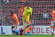 Colin Doyle  makes save during the Sky Bet League 1 match between Scunthorpe United and Blackpool at Glanford Park, Scunthorpe, England on 5 September 2015. Photo by Ian Lyall.