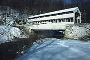 Knox covered bridge in snow