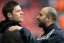 LIVERPOOL, ENGLAND - Sunday, December 2, 2007: Liverpool's injured midfielder Xabi Alonso and physiotherapist Victor Salinas before the Premiership match against Bolton Wanderers at Anfield. (Photo by David Rawcliffe/Propaganda)