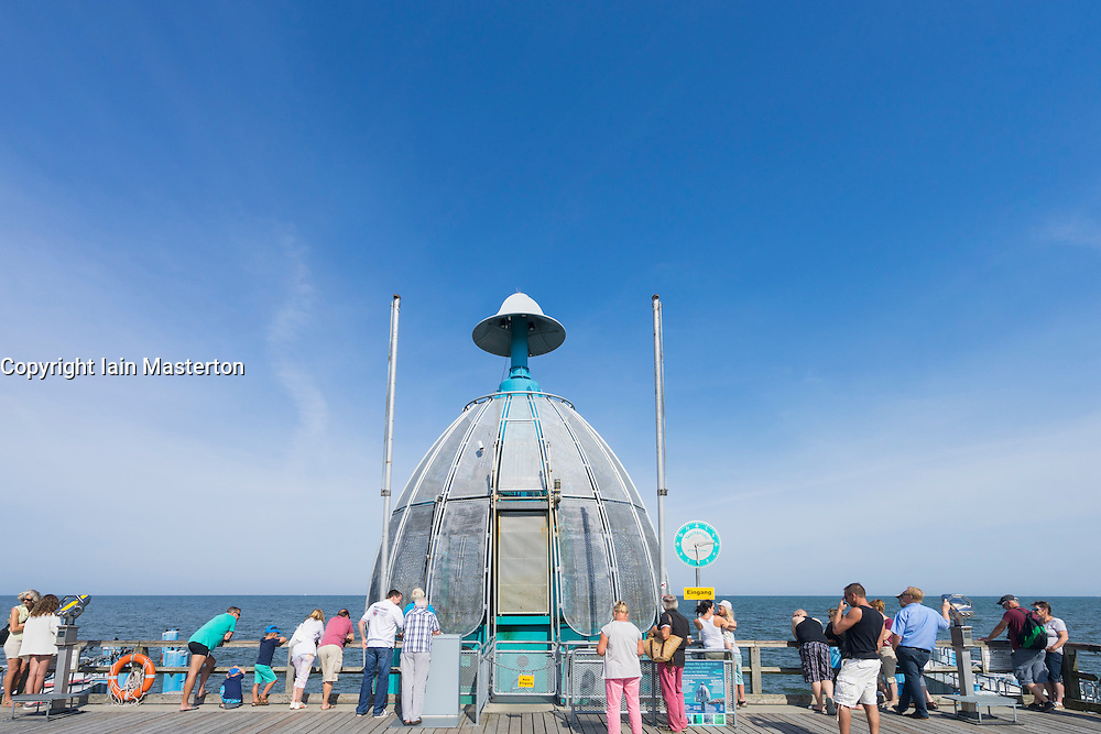 Diving Gondola underwater observation bell on pier at Selling on Rugen Island in Germany