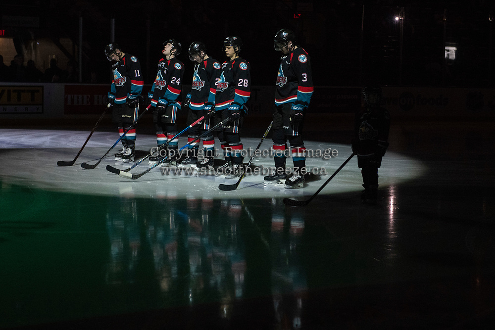 KELOWNA, CANADA - OCTOBER 13:  Erik Gardiner #11, Kyle Topping #24, Lassi Thomson #2, Leif Mattson #28 and Dalton Gally #3 of the Kelowna Rockets line up on the blue line against the Tri-City Americans on October 13, 2018 at Prospera Place in Kelowna, British Columbia, Canada.  (Photo by Marissa Baecker/Shoot the Breeze)  *** Local Caption ***