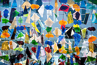 Long Island, New York. West Hampton outsider art exhibition stained glass grid.