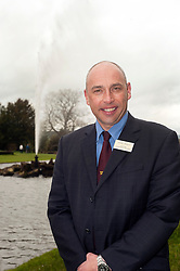 Andre Birckett Manager of Chatsworth Farm Shop stands in front of the Chatsworth House Emperor Fountain..10  May 2012.Image © Paul David Drabble