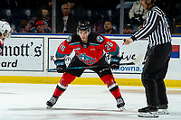 KELOWNA, BC - NOVEMBER 1:  Liam Kindree #26 of the Kelowna Rockets lines up for the face-off against the Prince George Cougars at Prospera Place on November 1, 2019 in Kelowna, Canada. (Photo by Marissa Baecker/Shoot the Breeze)