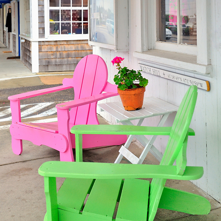 Colorful neon pink and lime green beach chairs in Watch Hill, Rhode Island, United States USA