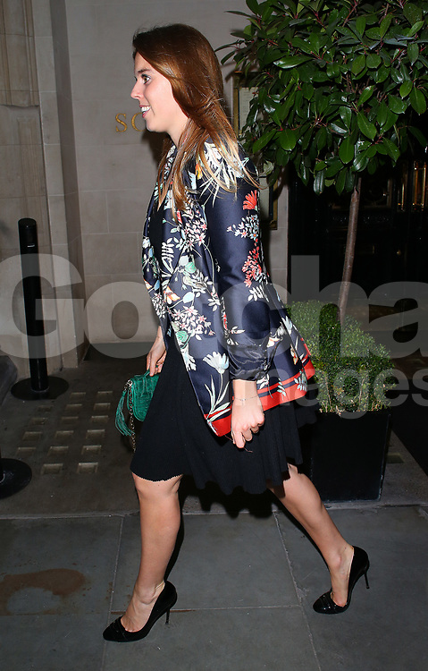 Princess Beatrice shows off her new blonde highlights as she leaves Scott's restaurant in Mayfair, London, UK. 02/10/2017<br />