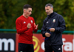 CARDIFF, WALES - Sunday, October 14, 2018: Wales' manager Ryan Giggs (R) with Harry Wilson during a training session at the Vale Resort ahead of the UEFA Nations League Group Stage League B Group 4 match between Republic of Ireland and Wales. (Pic by David Rawcliffe/Propaganda)