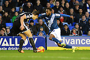 Birmingham City midfielder Jacques Maghoma on the attack during the Sky Bet Championship match between Birmingham City and Brentford at St Andrews, Birmingham, England on 2 January 2016. Photo by Alan Franklin.
