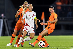 (L-R) Anouk Dekker of the Netherlands women, Pernille Harder of Denmark women, Sherida Spitse of the Netherlands women during the FIFA Women's World Cup 2019 play off first leg qualifying match between The Netherlands and Denmark at the Rat Verlegh stadium on October 05, 2018 in Breda, The Netherlands