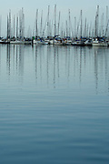 Yachts at their moorings on the River Hamble. United Kingdom.