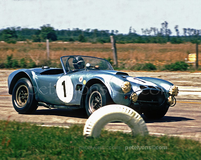 "John Morton in experimental first-generation Cobra with 427 engine, aka ""The Turd,"" which Morton shared with Ken Miles at Sebring 12-hour race 1964"