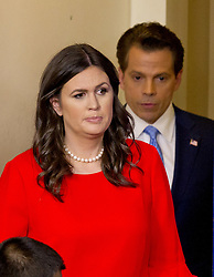 July 21, 2017 - Washington, District of Columbia, U.S. - Incoming White House Press Secretary SARAH HUCKABEE SANDERS enters the  press briefing followed by new White House communications director ANTHONY SCARAMUCCI, in the Brady Press Briefing Room of the White House. (Credit Image: © Ron Sachs/CNP via ZUMA Wire)