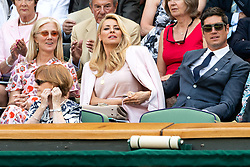 © Licensed to London News Pictures. 03/07/2018. London, UK.  Joely Richardson, Tess Daly and Vernon Kaye watch centre court tennis in the royal box on the second day of the Wimbledon Tennis Championships 2018. Photo credit: Ray Tang/LNP