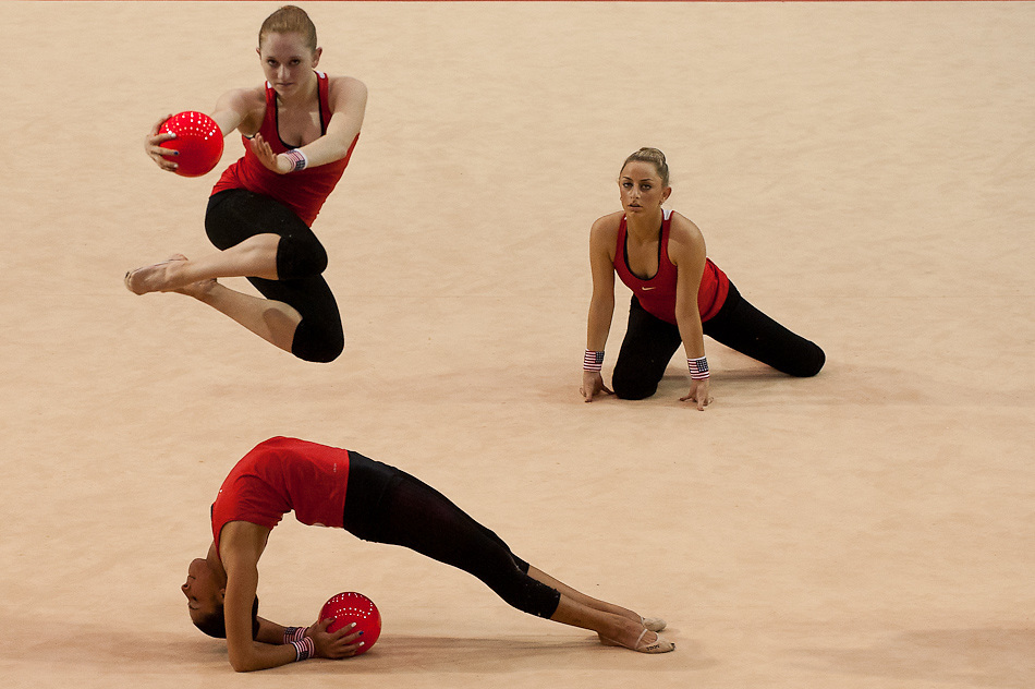 Oct. 14, 2011 - Guadalajara, Mexico - The United States of America Rhythmic Gymnastics team practices their routine at the Nissan gymnasium in preparation for the rhythmic gymnastics competition which starts tomorrow (Oct. 15)..©Benjamin B Morris