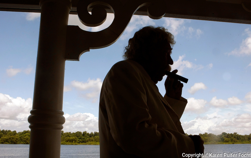 "Details to help travelers see the river through the eyes of river man Mark Twain are through out the boat. Lewis Hawkins (pictured) presents ""The Life and Times of Mark Twain"" during a morning matinee where he also takes questions from guests while in character. Mark Twain books and an occasional quote are also placed around the boat."