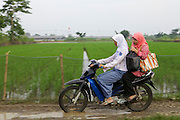 Iin Hartini's daughter, Riani, gives her a lift to school on the back of a motorbike.<br /> <br /> In 2007 Iin started her own business selling Nasi Goreng (fried rice). <br /> <br /> She makes it in bulk for the school canteen to sell to children who have their breakfast at school. <br /> <br /> Prior to signing up to Usaha Wanita Iin had been beginning to feel demotivated about her work and for a short time ceased making the rice. Since receiving the advice and mentoring she has become reenergised for her business and her profits have tripled.