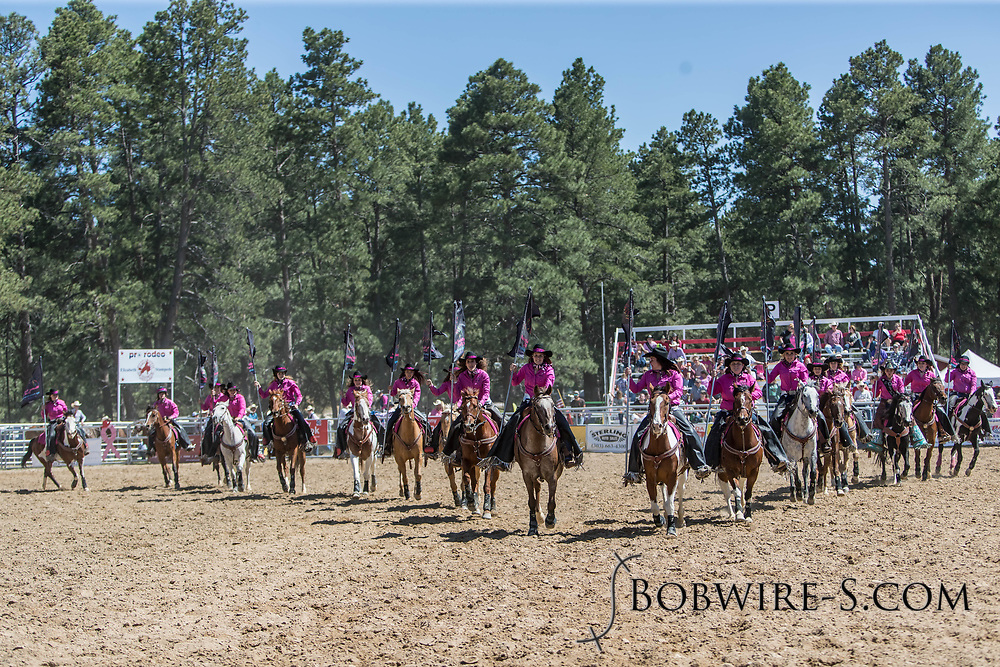 The Blazing Saddles Drill Team performs during the first performance of the Elizabeth Stampede on Saturday, June 2, 2018.