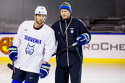 Robert Sabolic of Slovenia and Nik Zupancic, head coach of Slovenia during practice session of Team Slovenia at the 2017 IIHF Men's World Championship, on May 11, 2017 in AccorHotels Arena in Paris, France. Photo by Vid Ponikvar / Sportida