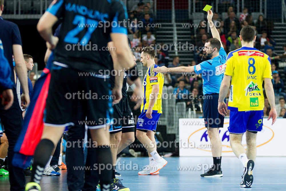 Luka Zvizej and Referee during handball match between PPD Zagreb (CRO) and RK Celje Pivovarna Lasko (SLO) in 13th Round of Group Phase of EHF Champions League 2015/16, on February 27, 2016 in Arena Zagreb, Zagreb, Croatia. Photo by Urban Urbanc / Sportida