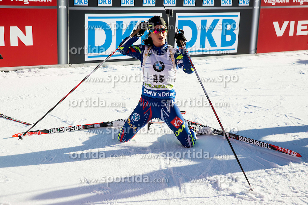 Anais Chevalier (FRA) at finish line during Women 10 km Pursuit at day 3 of IBU Biathlon World Cup 2015/16 Pokljuka, on December 19, 2015 in Rudno polje, Pokljuka, Slovenia. Photo by Vid Ponikvar / Sportida