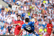 Brighton striker Tomer Hemed attempts a spectacular overhead kick during the Sky Bet Championship match between Brighton and Hove Albion and Blackburn Rovers at the American Express Community Stadium, Brighton and Hove, England on 22 August 2015. Photo by Bennett Dean.