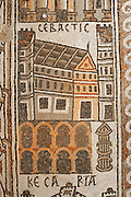Detail of a Byzantine floor mosaic depicting Sebastis (modern day Sebastia in the West Bank), from the cycle showing 15 major cities of the Holy Land from both east and west of the River Jordan, 756-785 AD, from the Church of St Stephen, Umm ar-Rasas, Amman, Jordan. Six mosaic masters signed the mosaic floor, Staurachios from Esbus, Euremios, Elias, Constantinus, Germanus and Abdela. They completed the mosaics at the time of Bishop Sergius II in honour of St Stephen. The church has an apse and an elevated presbytery and forms part of an ecclesiastical complex of 4 churches. Umm ar-Rasas is a rectangular walled city which grew from a Roman military camp in the Jordanian desert. Its remains date from the Roman, Byzantine and Umayyad periods (3rd - 9th centuries), including 16 churches with mosaic floors. Excavations began in 1986, although most of the site remains unexplored. It was declared a UNESCO World Heritage Site in 2004. Picture by Manuel Cohen