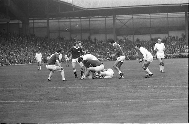 A group of players tackle each other over the ball during the All Ireland Senior Gaelic Football Championship Final Cork v Galway in Croke Park on the 23rd September 1973. Cork 3-17 Galway 2-13.