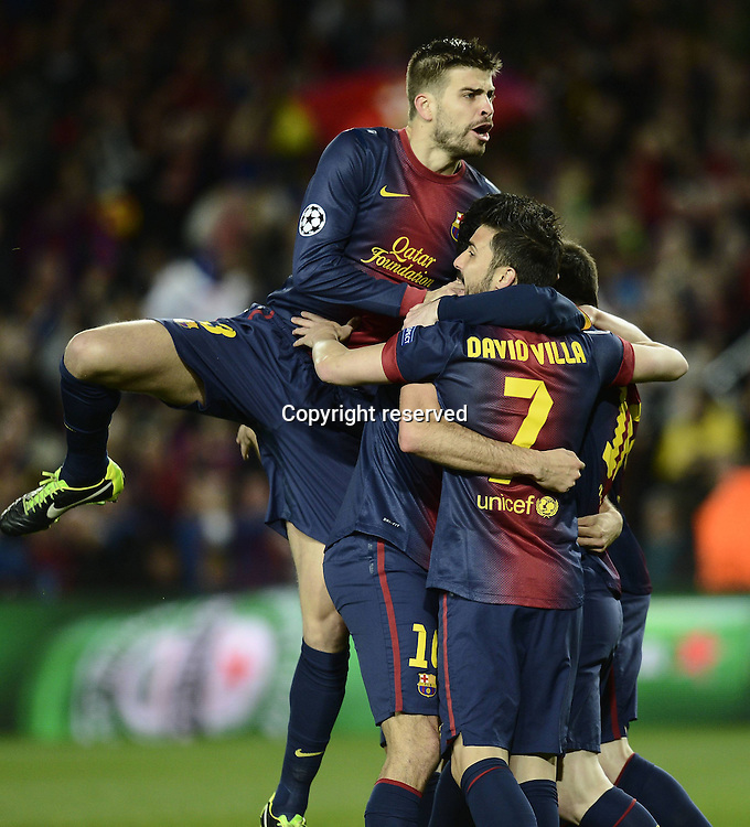 12.03.2013. Nou Camp, Barcelona, Spain. Champions League Barcelona FC versus AC Milan.  Photo shows as Barcelona celebrate the goal from Lionel Messi