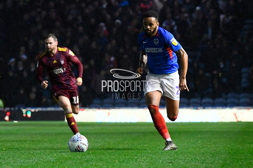 Anton Walkes (2) of Portsmouth on the attack during the EFL Sky Bet League 1 match between Portsmouth and Ipswich Town at Fratton Park, Portsmouth, England on 21 December 2019.