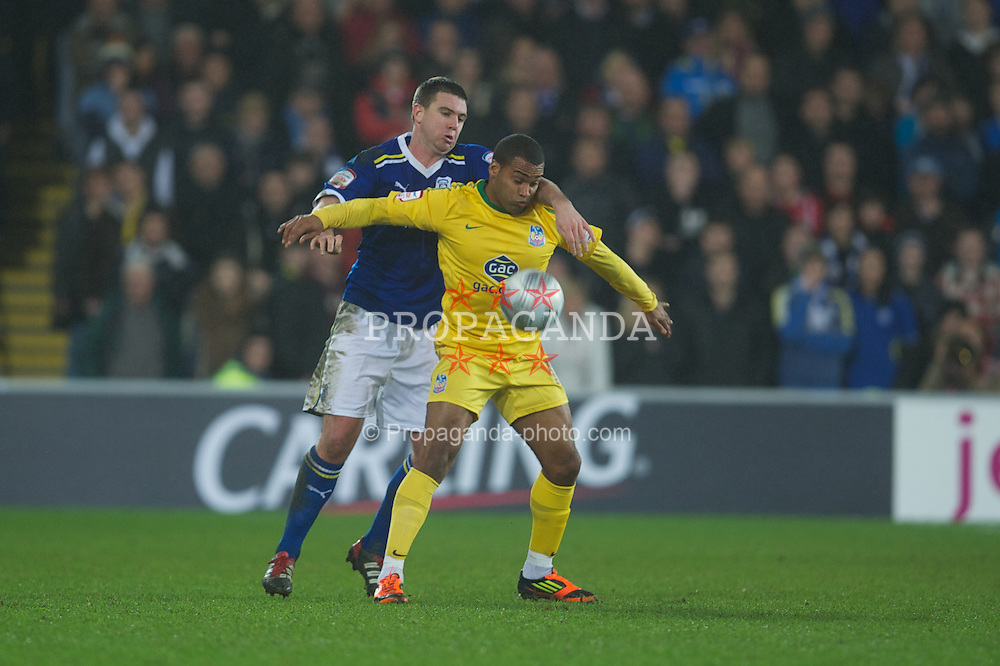 CARDIFF, WALES - Tuesday, January 24, 2012: Crystal Palace's Jermaine Easter in action against Cardiff City during the Football League Cup Semi-Final 2nd Leg at the Cardiff City Stadium. (Pic by David Rawcliffe/Propaganda)