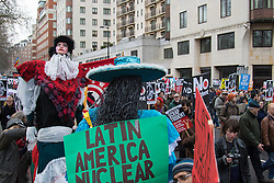 London, February 27th 2016. Latin Americans ask why if their continent can be nuclear free, why can't the UK too? CND's march and rally opposing the UK's Trident nuclear weapons programme. <br /> &copy;Paul Davey<br /> FOR LICENCING CONTACT: Paul Davey +44 (0) 7966 016 296 paul@pauldaveycreative.co.uk