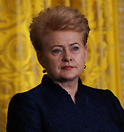 President Dalia Grybauskaite of Lithuania participates in a press conference with leaders of the Baltic states on April 3, 2018.  Photo by Dennis Brack