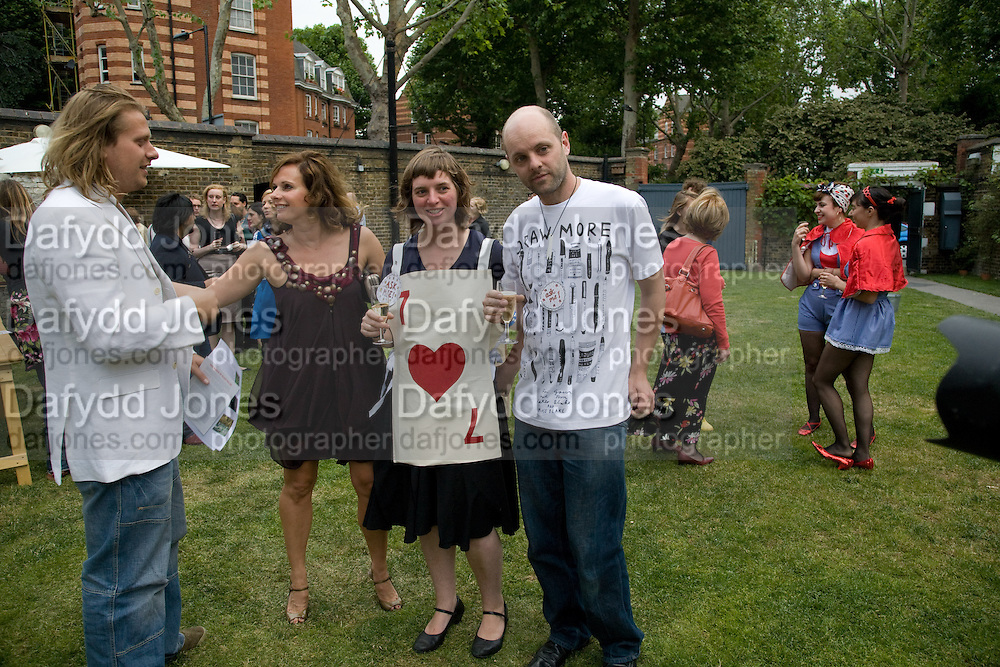 JEREMY CAMPBELL; SIAN REEVES; DEBORAH CURTIS; GAVIN TURK, A Night for the creative Act. Fundraising for the Hoft charity. Rochelle School. Arnold Circus. London.  26 June 2008 *** Local Caption *** -DO NOT ARCHIVE-© Copyright Photograph by Dafydd Jones. 248 Clapham Rd. London SW9 0PZ. Tel 0207 820 0771. www.dafjones.com.