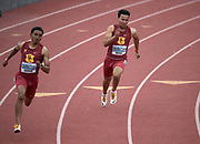 Apr 19, 2019; Torrance, CA, USA; Alexander Barnum (lft) and Nick Moore of Southern California run in a 200m heat during the 61st Mt. San Antonio College Relays at El Camino College.