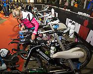 Bree WEE (USA) Prepares Transition In The Pre Dawn. Ironman Asia Pacific Championship Melbourne. Triathlon. Frankston And St Kilda, Melbourne, Victoria, Australia. 24/03/2013. Photo By Lucas Wroe