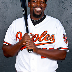 February 26, 2011; Sarasota, FL, USA; Baltimore Orioles designated hitter Vladimir Guerrero (27) poses during photo day at Ed Smith Stadium.  Mandatory Credit: Derick E. Hingle