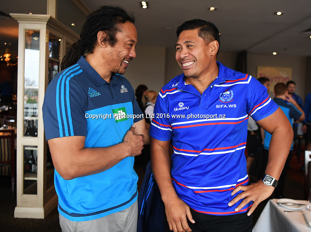 Tana Umaga and Alama Ieremia during a press conference to announce the Brisbane Global Rugby Tens annual tournament. Spencer on Byron Hotel, Auckland, New Zealand. Thursday 4 August 2016. © Copyright Photo: Andrew Cornaga / www.Photosport.nz