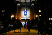 The crest of Sheffield Wednesday outside Hillsborough Stadium, home of Sheffield Wednesday before the EFL Sky Bet Championship match between Sheffield Wednesday and Stoke City at Hillsborough, Sheffield, England on 22 October 2019.
