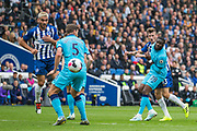 Tanguy Ndombele (Tottenham) & Pascal Gross (Brighton) look on as the ball goes in front of Jan Vertonghen (Tottenham) & Neal Maupay (Brighton) during the Premier League match between Brighton and Hove Albion and Tottenham Hotspur at the American Express Community Stadium, Brighton and Hove, England on 5 October 2019.