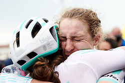 Lizzy Banks (GBR) celebrates with second place, Leah Thomas (USA) after Stage 8 of 2019 Giro Rosa Iccrea, a 133.3 km road race from Vittorio Veneto to Maniago, Italy on July 12, 2019. Photo by Sean Robinson/velofocus.com