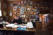 Father Michael Pfleger seen in his office at St. Sabina on September 28, 2016, just a few days before the church's 100 year anniversary.
