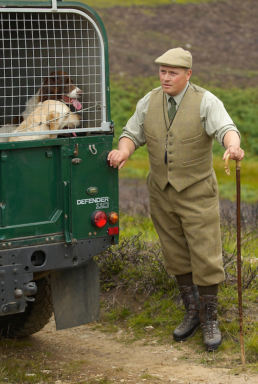 The gamekeeper Gaving Hennam  of Glen Lethnot estate releases the dogs during the the final checks and preparations .in the build up  to the Glorious 12th, the official start of the red grouse shooting season (this year Monday 13th August)  ANGUS, SCOTLAND AUG 10 ..The Glorious Twelfth is usually used to refer to August 12, the start of the open season for grouse shooting in the United Kingdom. This is one of the busiest days in the shooting season, with large amounts of game being shot. It is also a major boost to the rural economy. ..Since the start of the season traditionally does not begin on a Sunday, it is sometimes postponed to August 13, as in 2001 . In recent years, the event has been hit by hunt saboteurs, the 2001 foot and mouth crisis (which further postponed the date in affected areas ) and the effect of sheep tick and the gut parasite Trichostrongylus tenius...The Game Conservancy Trust conducts scientific research into Britain's game and wildlife. Advising farmers and landowners on improving wildlife habitat and lobbying for agricultural and conservation policies based on science..Many of their  supporters take part in field sports.
