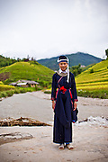 "Hap in traditional outfit of the Dao ethnic minority. Portrait of Hap, 14, who is part of the Plan (NGO) Project ""Because I am a Girl"" Ban Luoc commune, Hoang Su Phi District, Ha Giang Province, Vietnam, September 2014"