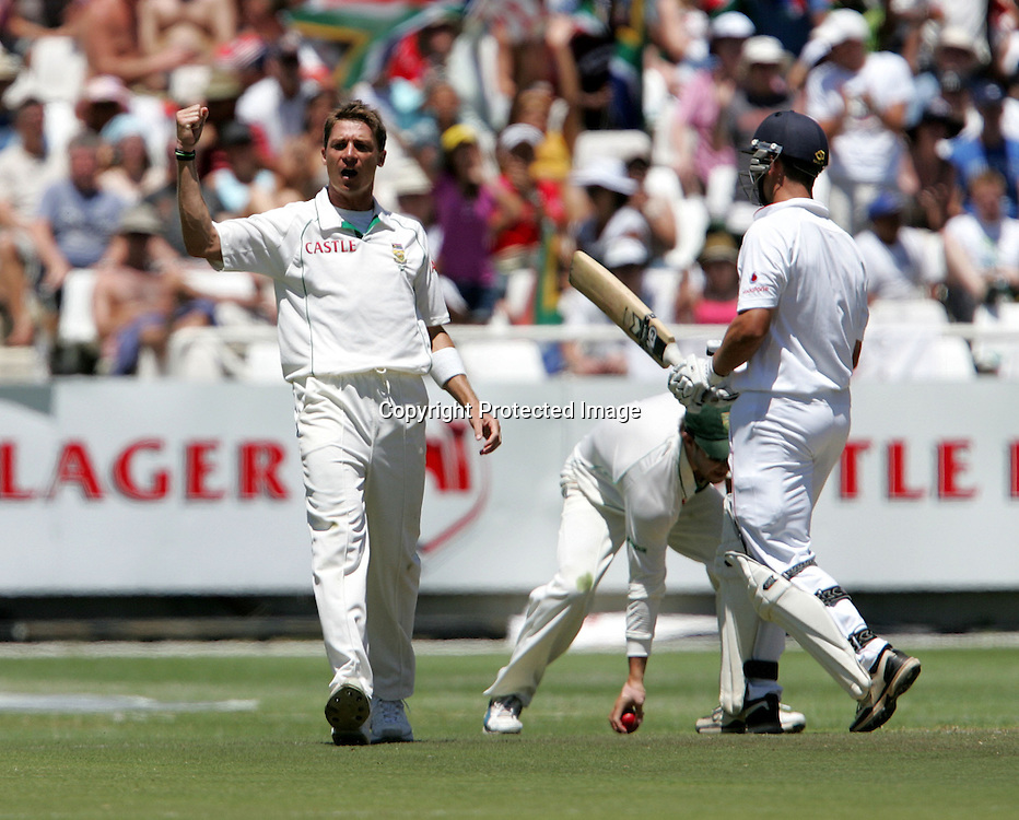 Dale Steyn celebrates the wicket of Jonathan Trott during the 2nd day of the third test match between South Africa and England held at Newlands Cricket Ground in Cape Town on the 4th January 2010.Photo by: Ron Gaunt/ SPORTZPICS