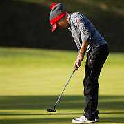 26 March 2018: Haleigh Krause repositions putts on the fifth green during the opening round of the March Mayhem Tournament hosted by SDSU at the Farms Golf Club in Rancho Santa Fe, California. <br /> More game action at sdsuaztecphotos.com