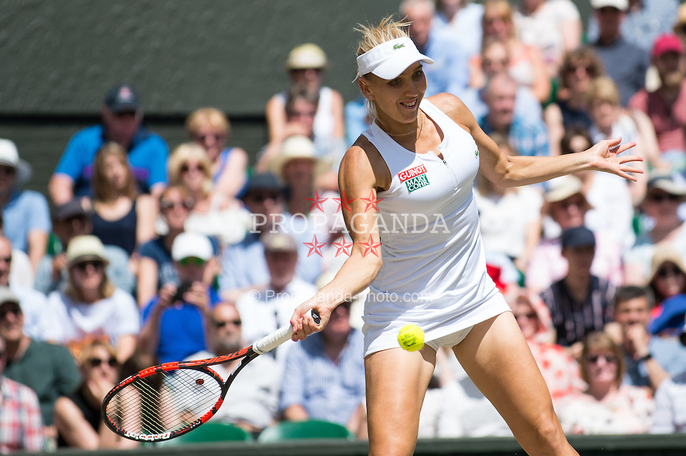 LONDON, ENGLAND - Thursday, July 7, 2016:  Elena Vesnina (RUS) during the Ladies' Singles - Semi-finals match on day eleven of the Wimbledon Lawn Tennis Championships at the All England Lawn Tennis and Croquet Club. (Pic by Kirsten Holst/Propaganda)