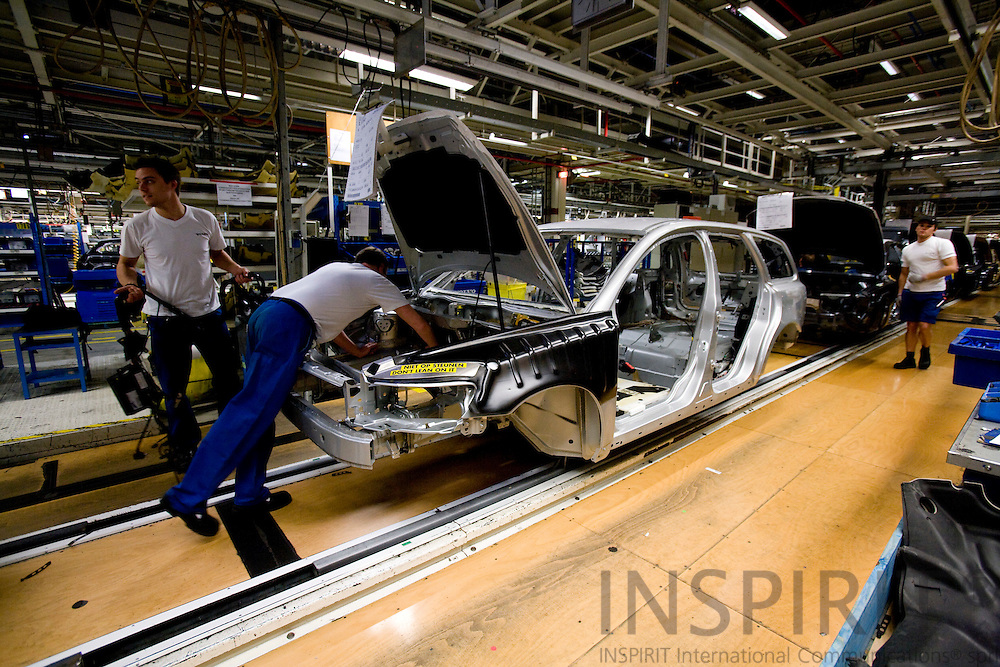 GHENT - BELGIUM - 01 APRIL 2008 --  Workers at the assembly line at Volvo Cars Gent. Photo: Erik Luntang/INSPIRIT Photo