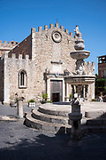 Duomo Cathedral of Taormina and fountain, East Sicily, Italy