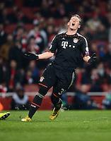FUSSBALL  CHAMPIONS LEAGUE  ACHTELFINALE  HINSPIEL  2012/2013      FC Arsenal London - FC Bayern Muenchen       19.02.2013 Bastian Schweinsteiger (FC Bayern Muenchen) emotional
