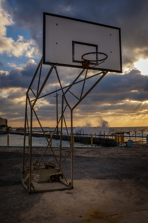 HAVANA, CUBA - CIRCA MARCH 2017: Abandonded basketball court in Havana.